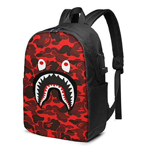 Ba-Pe Shark Face Unisex Usb Backpack Carry On Bags 17 Inches Laptop Backpack For Travel School Business Durable