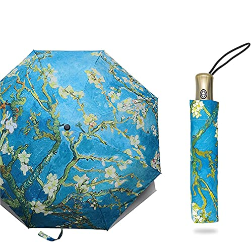 YUQINT Regenschirm, faltbar, winddicht, Paraguas, Van Gogh, Ölgemälde-Regenschirm, für Damen (Farbe: Mandeln)