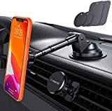 VANMASS Magnetic Phone Mount [Patent & Safety Certs] Unique Aluminium Alloy Structure, 6X Strong Magnets, Super Sticky Suction Cup, Magnetic Phone Holder for Car Dashboard Windshield & Air Vent