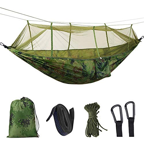 Idefair Hammock with Mosquito Net, Double Camping Hammocks Bug Net Waterproof Portable and Lightweight for Backpacking Hiking Travel Outdoor (Camouflage)