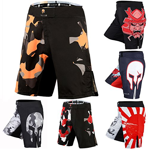 Verus Men's Mixed Martial Art Shorts (Orange/Camo, X-Large)