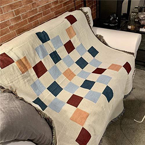 MZW Elegante Manta geométrica Manta Tablero de Damas multifunción Fundas de sofá Manta Borla guardapolvo Aire Acondicionado Mantas para Cama