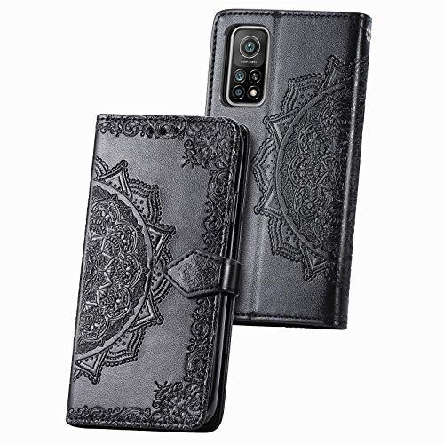 TOPOFU Xiaomi Mi 10T Pro/10T 5G Hülle,Mandala Muster Flip Lederhülle PU Magnetische Wallet Tasche mit Ständer Kartensteckplätze Protective Hülle für Xiaomi Mi 10T Pro/10T 5G-Schwarz