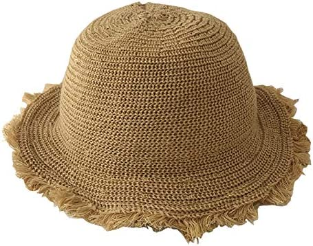 Girl Kids Summer Straw Hat Wide Brim Floppy Beach Sun Protection Hat Ac khaki Medium 50 52cm product image