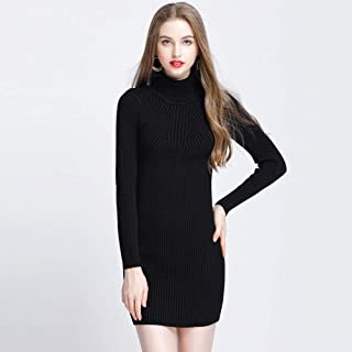 Festnight Long Knitted Sweater,Women Autumn Winter Sweater Dress Slim Turtleneck Sexy Bodycon Solid Color Casual Knitted Dress