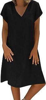 acf6c287dfa BingYELH Women Casual Cotton and Linen Solid Mini Dress Summer Plus Size  Party Short Sleeve Dress Beach Cover Up (XXL