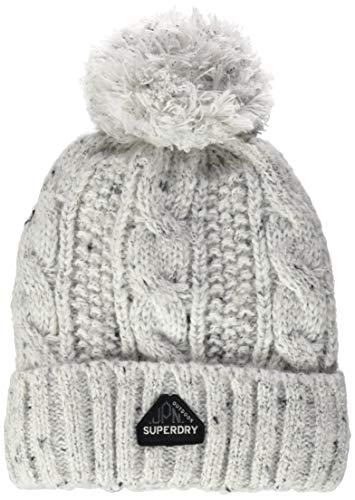 Superdry Womens Gracie Cable Beanie Hat, Winter White Tweed, Einheitsgröße