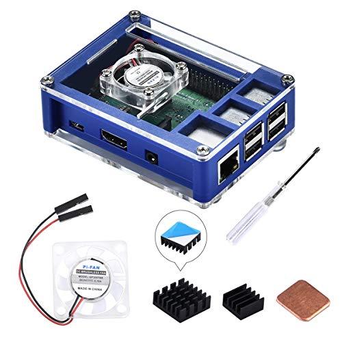 GeeekPi Raspberry Pi 3 B + Caja, Raspberry Pi Caja con ventilador, disipador de calor Raspberry Pi para Raspberry Pi 3 modelo B +, Raspberry Pi 3/2 modelo B