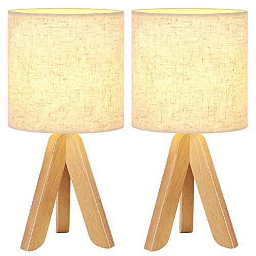 Juego de 2 lámparas de mesa con pie de madera, pantalla de tela de lino, pequeñas lámparas de noche para dormitorio, salón, ambiente cálido, decoración de regalo