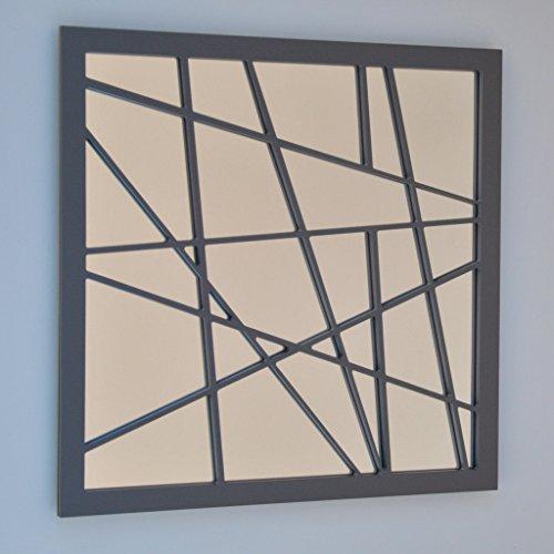 DECOHOGAR.SHOP Miroir Mural carré - Zig Zag Petit - 40 x 40 cm - Laqué Blanc