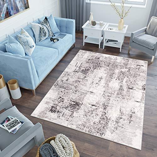 Tapiso Sky Teppich Kurzflor Modern Beige Grau Hellgrau Vintage Meliert Verwischt Design Wohnzimmer Schlafzimmer 3D Optik ÖKOTEX 160 x 220 cm