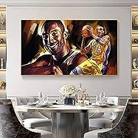 ウォールアートペインティングバスケットボールスーパースターコービーブライアントフィギュアポスタープリントリビングルームホームボーイ寝室の装飾  60x100cm-(フレームなし)
