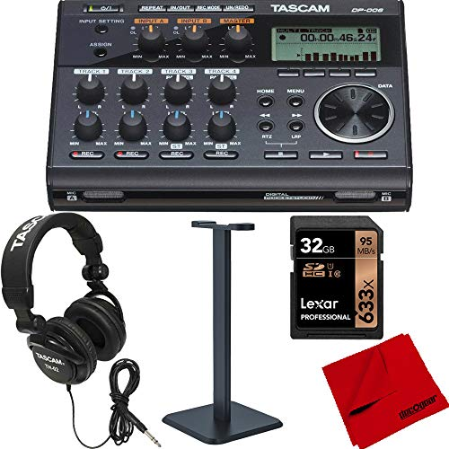 Tascam Compact Pocketstudio 6 Track Digital Recorder Built In Microphone (DP-006) Bundle with Tascam Closed-Back Professional Headphones & Deco Gear Pro Audio Headphone Stand Plus More