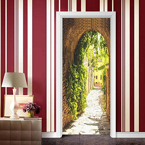 Door stickers and wall stickers, self-adhesive, waterproof and removable, home decoration wallpaper mural, House, path
