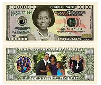 American Art Classics Michelle Obama - First Lady - First Family Million Dollar Bill - Pack of 25