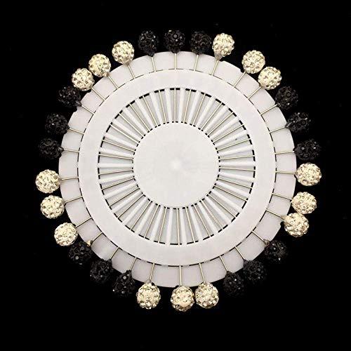 Nuevo Hijab Pins Up 30PCS Flor de cristal Árabe Musulmán Hijab Broches Pin para mujeres Seguridad Cabeza Bufanda Pins Mezcla Color-6