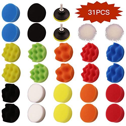 Kit de almohadillas de pulido de 31 piezas, almohadillas de pulido de espuma pulidora, glaseado de sellado de pulido encerado, adaptador de taladro M14 para pulidora de automóviles (3 Inch+M10 Drill)