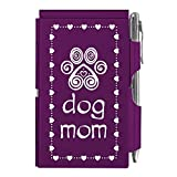 Wellspring Dog Mom Pawprint Purple 4 x 3 Aluminum Metal Hardcover Flip Notebook With Pen (2141)