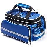 自転車 サイドバッグ 37L 大容量 パニアバッグ シートバッグ 自転車バッグ リアバッグ 多機能 拡張可能 防水カバー付き ショルダーストラップ付き サイクリング マウンテン ロード MTBどなど (ブルー)