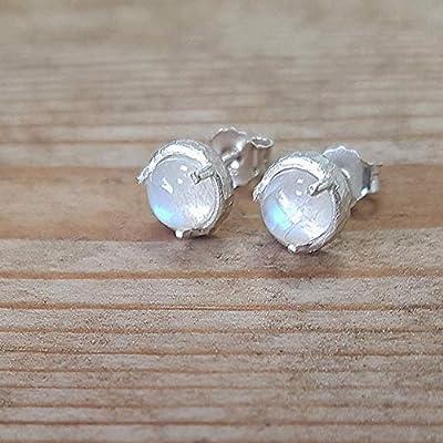 Clous d'oreilles pierre de lune arc-en-ciel en argent sterling 925 pour femmes - petit papillon de 6 mm