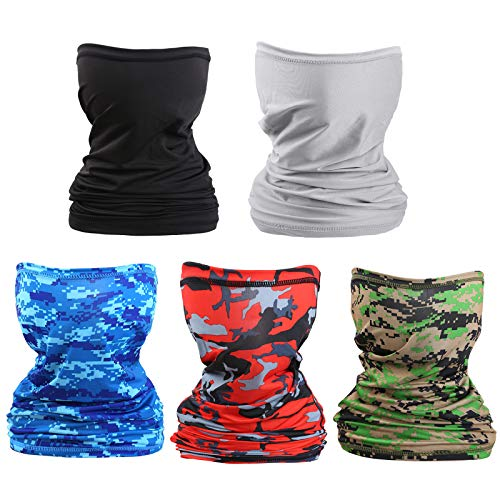 WHX 5 PCS UV Bandana Face Mask Neck Gaiter Sun Protection - Breathable Summer Face Scarf Cover for Fishing Hunting