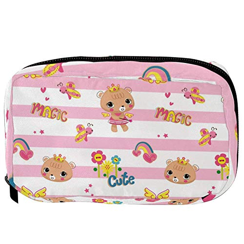TIZORAX Cosmetic Bags Cute Bear With Rainbow In Pink Stripes Handy Toiletry Travel Bag Organizer Makeup Pouch for Women Girls