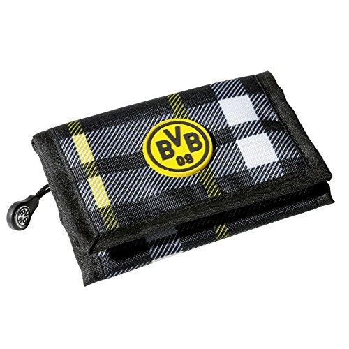 Borussia Dortmund Geldbörse, Schwarz-Grau, Polyester, 12 cm x 9 cm, BVB-Emblem one Size