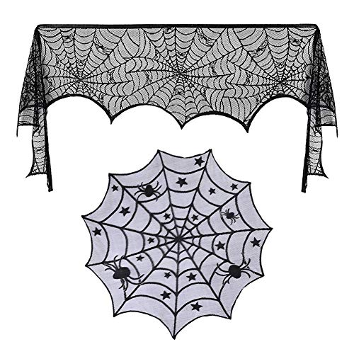 2 Packs of 18 x 98 inch Halloween Black Lace Spiderweb Fireplace Mantle Scarf and 40 Inch Black Spider Halloween Lace Table Topper Cloth for Halloween Decorations, Dinner Parties and Scary Movie Night