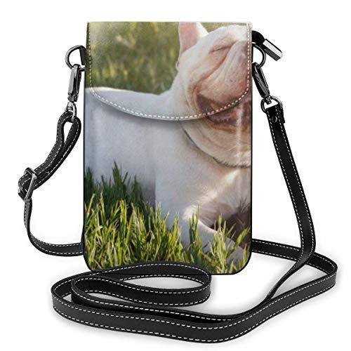 mit Smiley-Gesichtern auf Gras Legen Mode Kleine Handy-Geldbörse Mehrzweck-Umhängetasche Brieftasche