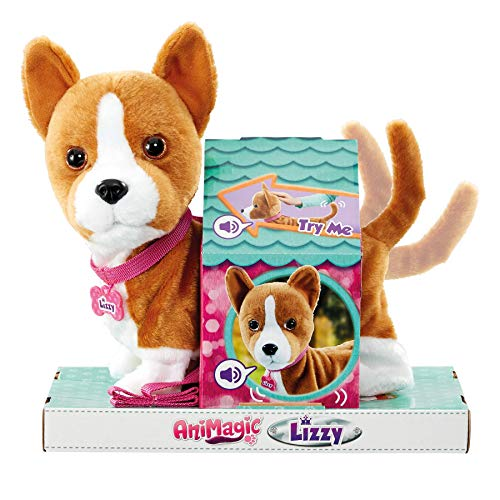 Animagic 31346.4300 My Wigglin Walkin Pup, Queen's Soft Plush, with Sounds Lizzy Corgi, interaktives Plüsch, Mehrfarbig
