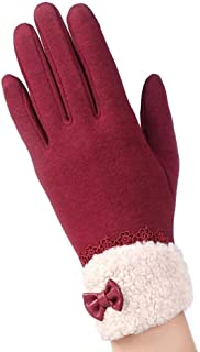 SGJFZD Touched Screen Gloves Lace Bowknot Female Winter Warm Gloves Elegant Flocking Warmer Gloves Mittens Outdoor Gloves (Color : Pink, Size : OneSize)