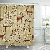 wgykkk Tan Malerei, braun, westlicher Indium, handgefertigt, Schlange Duschvorhang, wasserdichter Polyesterstoff, 180 x 180 Set