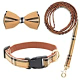 """Size S: Collar adjustable from 10.5"""" to 14"""", 1/2"""" in width, the leash length is 47"""" (120cm). Please carefully measure the neck girth of your pet to ensure it can be worn. Quality Material: The plaid fabric is made of pure cotton. The inside of the co..."""