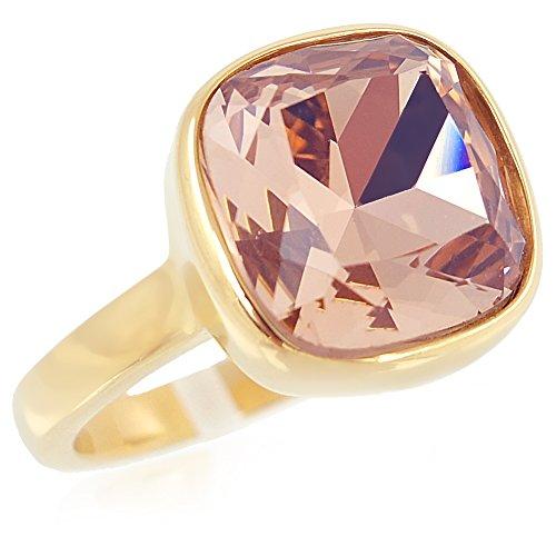 nobel-schmuck Ring Gr. 54 Edelstahl mit Kristall von Swarovski® Rosa Gold