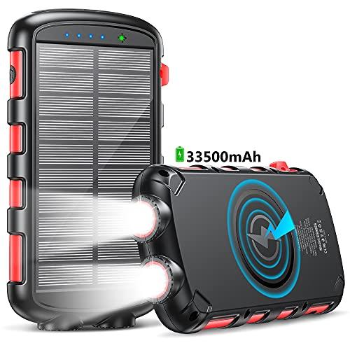 Power Bank 33500mAh,Cargador Solar Batería Externa Carga Rápida 25W,Cargador Solar con Carga Inalambrica 15W,5 Salidas USB y 1 USB-C LED Linterna 4 Modos para Phone Tabletas Cámara Viajes Camping