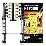 Nestling chelle Tlescopique 3.8M en Aluminium Bricolage Pliable Extensible Unique Droite Multi-fonction Ladder Charge 330lbs (150 kg)