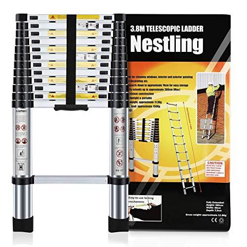 Nestling® Échelle Télescopique 3.8M en Aluminium Bricolage Pliable Extensible Unique Droite Multi-fonction Ladder Charge 330lbs (150 kg)