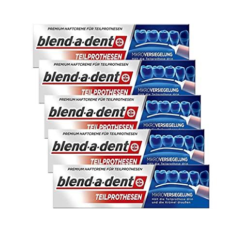 Blend-a-dent Premium kleefcrème voor gedeeltelijke protheses, 5 stuks, 5 x 40 ml