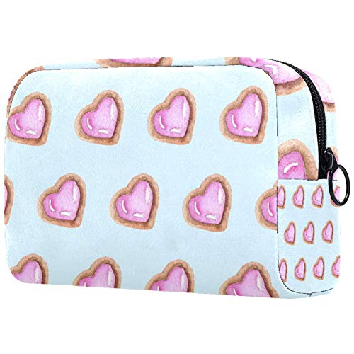 Makeup Bag with Zipper Portable Organizer Cosmetic Bag Case Purse for Girls Women Travel Gift Pink Love Hearts Cute