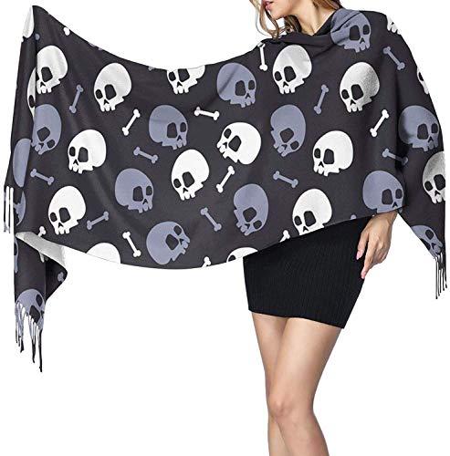 Bufanda de cachemira para mujer, diseño de calavera, bufanda clásica con borla, manta grande, chal XXX
