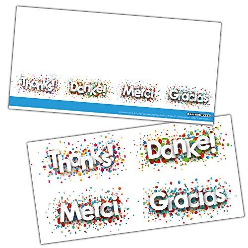 DANKE Karten-Set XL (24 Stück) Moderne Dankeskarten ideal als Brief oder Postkarte nach Hochzeit, Baby Geburt, Jubiläum, Geburtstag - von BREITENWERK®