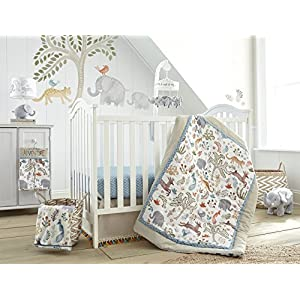 Levtex Baby Jungalo Animal Themed 5 Piece Crib Bedding Set, Quilt, 100% Cotton Crib Fitted Sheet, Dust Ruffle, Diaper Stacker and Large Wall Decals