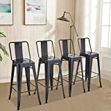 MAISON ARTS Metal Bar Stools Set of 4 with Back for Kitchen Counter Island Bar Seat Height Farmhouse Rustic Barstools 30 inch Industrial Patio Stools & Bar Chairs 350LBS Capacity,Gun Gray
