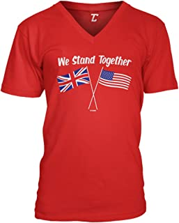 We Stand Together - USA & UK Union Jack Flags Unisex V-Neck T-Shirt