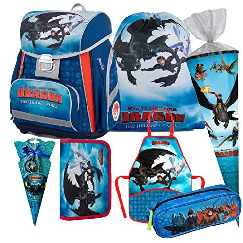 Dragons Drachen 12 Teile Schulranzen Set RANZEN FEDERMAPPE Tornister Tasche Schultüte 85 cm inklusive Sticker von Kids4shop