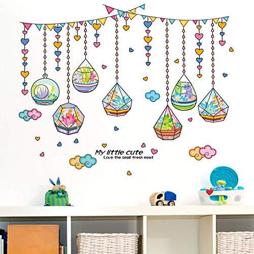 GWFVA Romantische kristallen fles hangen stickers muur versieren stickers kinderen slaapkamer achtergrond muur stickers slaapkamer