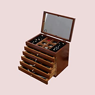 Lanbinxiang@ White Brown Multi-Layer Retro Wood Carved Trunk Jewelry Box Earrings Necklace Storage Cosmetic Case Girl Woman Gift Large Capacity Cabinet (Color : Brown)