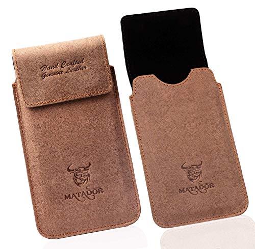 MATADOR Motorola Moto G5 Plus Vintage Antik Tabacco Braun Echt Ledertasche Handytasche Gürteltasche Vertikaltasche Magnetverschluss & Gürtelclip/Gürtelschlaufe (mit Ausziehfunktion)