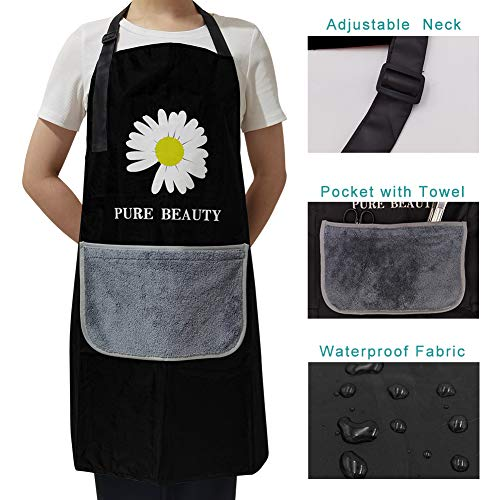 GYW Adjustable Apron with Pockets, Cooking Kitchen Waterproof Aprons for Women (Black)