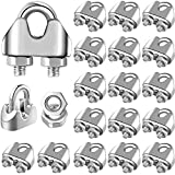 24 Pieces Rope Cable Clip Clamp 3/16 Inch Wire Rope Clamp Fastener Silver Tone U Bolt Saddle Fastener